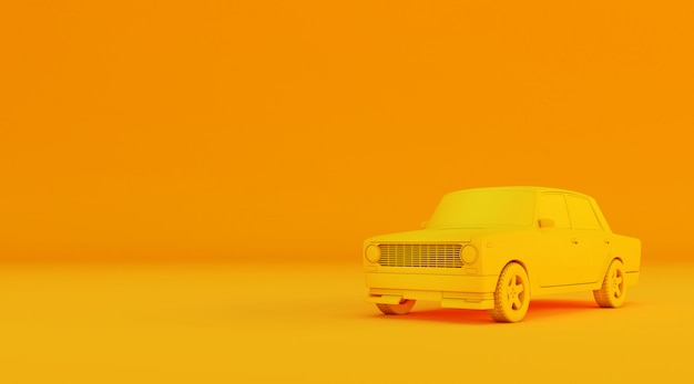3d rendering of old car on colored surface.