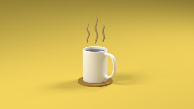 3d rendering one coffee cup on yellow background