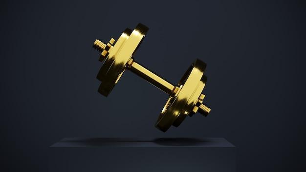 3d-рендеринг, одна золотая профессиональная гантель для фитнеса и бодибилдинга