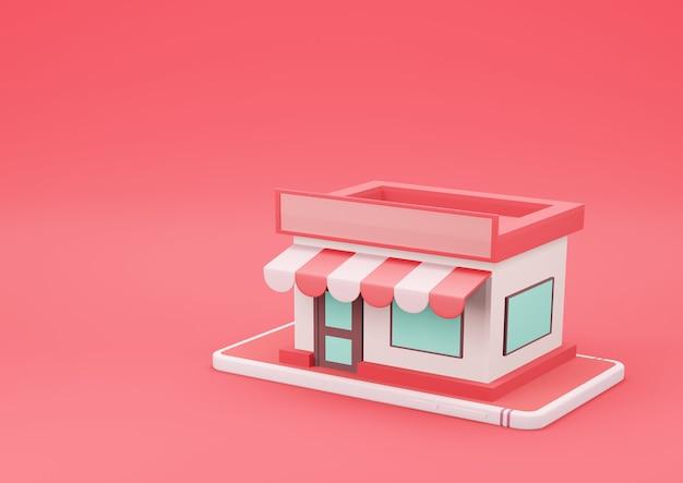 빨간색 배경에 스마트 폰에 3d 렌더링 온라인 스토어. 온라인 쇼핑 및 전자 상거래 개념.