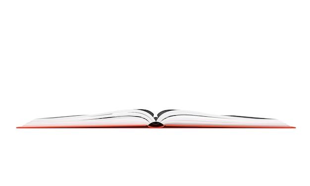 開いた本の画像を分離した白い背景の3dレンダリング