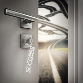 3d rendering open door with success keyrings on a road
