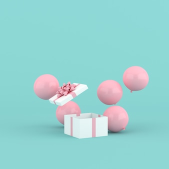 3d rendering of open gift box and balloons. minimal concept.