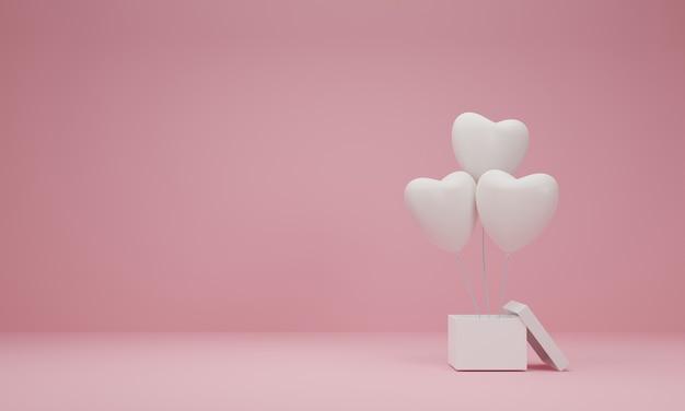 3d 렌더링. 파스텔 핑크 바탕에 풍선 마음으로 선물 상자를 엽니 다. 최소한의 개념.