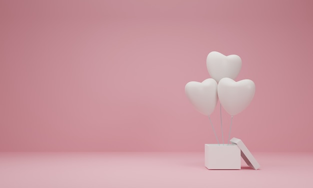 3d rendering. open gift box with balloon heart on pastel pink background. minimal concept.