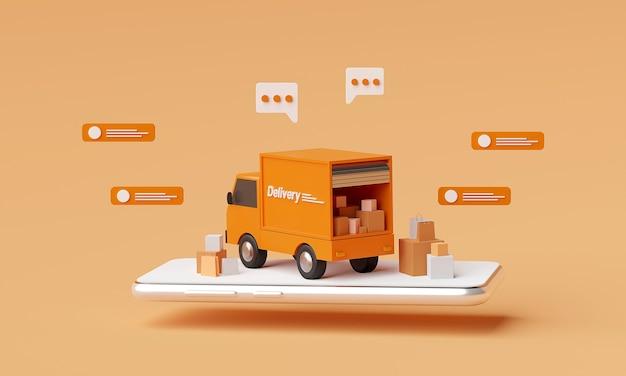 3 d レンダリングのオレンジ色の配達用トラックと、オレンジ色の背景にメッセージが表示されます。
