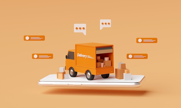 3d rendering orange delivery truck with messages around it on orange background