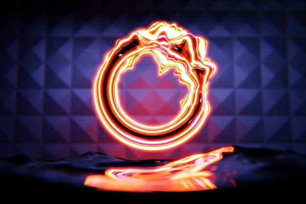 3d rendering orange glowing neon round fractal, portal on black isolated background