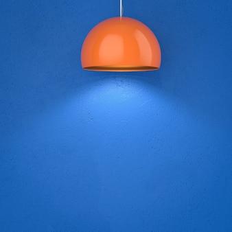 天井にぶら下がっている3dレンダリングオレンジペンダントランプ