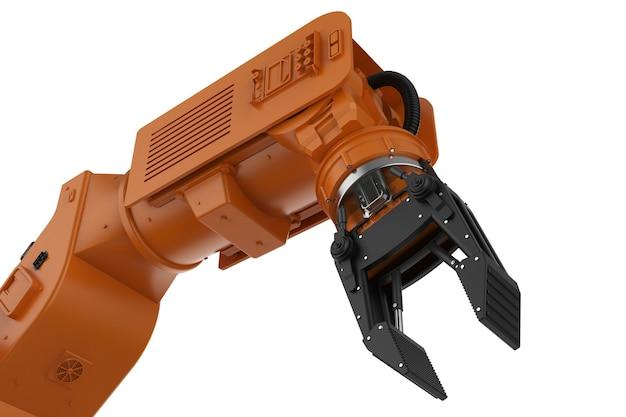 흰색 배경에 고립 된 3d 렌더링 오렌지 로봇 팔