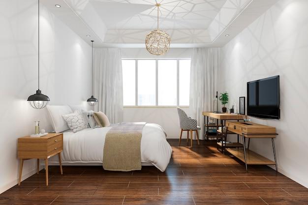 Tv와 호텔의 3d 렌더링 오렌지 빈티지 최소한의 침실 스위트