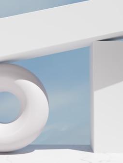 美容またはヘルスケア製品の表示のための日光と空の下で幾何学的形状の屋外構造の背景を3dレンダリング
