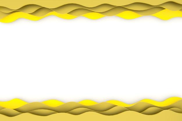 3d 렌더링 종이 컷 노란색 패턴의 물결