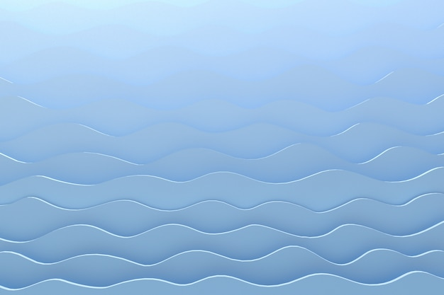 3d rendering paper cut wave pattern gray backdrop