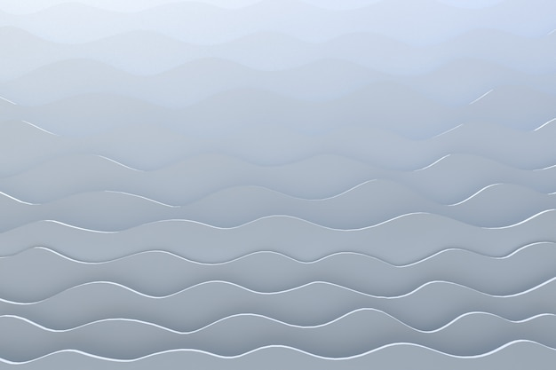 3d rendering paper cut wave pattern white backdrop
