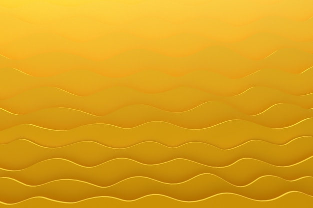 3d rendering paper cut wave pattern yellow backdrop for background
