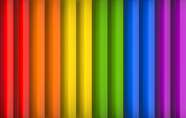3d rendering. parallel lgbt vertical ranbow panel wall  background.