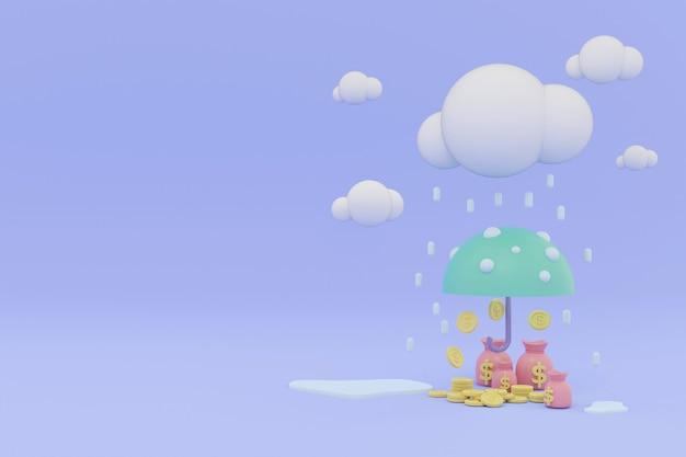 左側にテキスト用のスペースがある雨の傘の下でパステルコインとマネーバッグを3dレンダリング