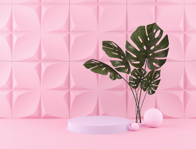 3d rendering of pastel color backdrop with a design podium for display in minimalist style scene.