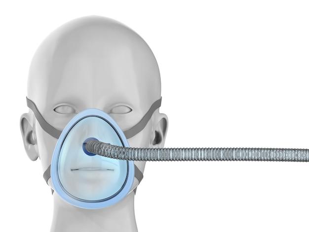 3d-рендеринг манекена пациента с вентиляционной маской