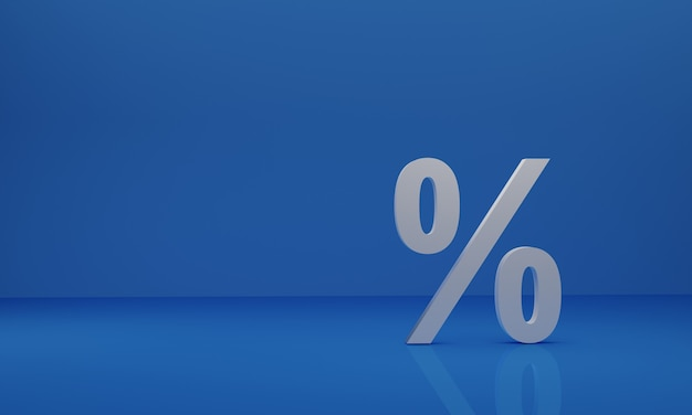 3d рендеринг процентный белый значок на синем фоне