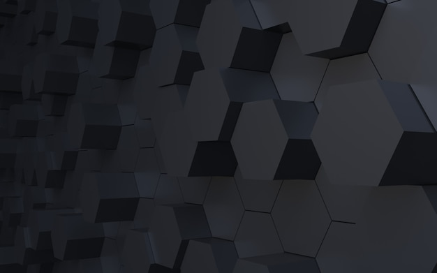 3d rendering perspective black hexagon abstract background