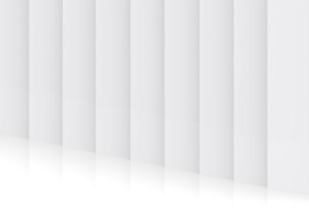 3dレンダリング。モダンな光最小限垂直パネルプレートコーナー壁デザインの背景の斜視図。