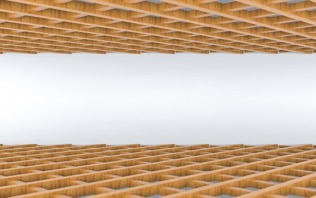 3d rendering. perspective view of wood panel in square pattern design  floor and ceiling background.