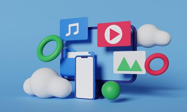 미디어 파일 아이콘이있는 3d 렌더링 전화 및 데스크톱