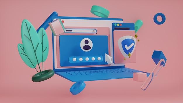 3d рендеринг телефона и рабочего стола с иконками медиа файлов