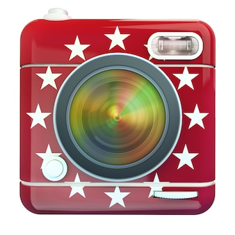 3d rendering of a photo camera icon red with white stars