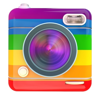 3d rendering of a photo camera icon with rainbow color pattern