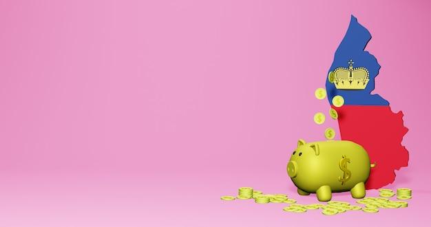 3d rendering of piggy bank as positive economic growth in liechtenstein
