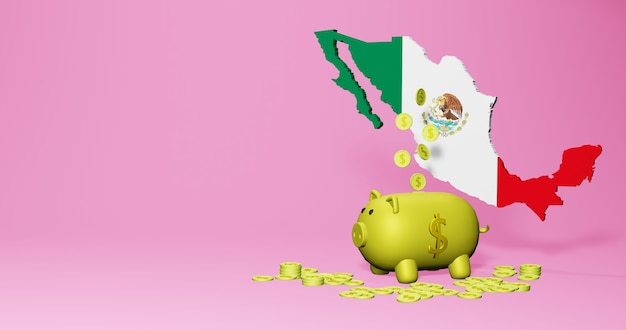 3d rendering of piggy bank as positive economic growth in mexico
