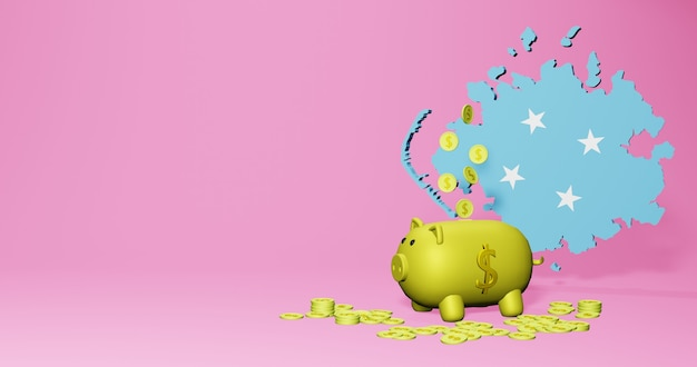 3d rendering of piggy bank as positive economic growth in micronesia