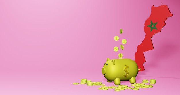 3d rendering of piggy bank as positive economic growth in morocco