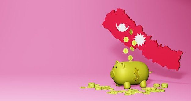 3d rendering of piggy bank as positive economic growth in nepal