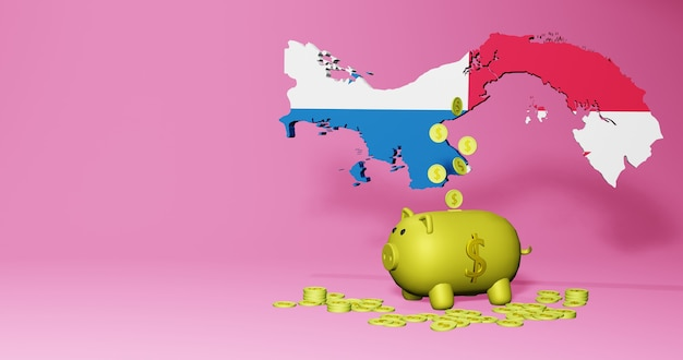 3d rendering of piggy bank as positive economic growth in panama