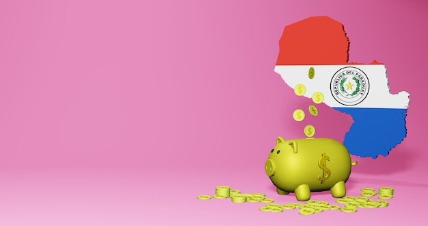 3d rendering of piggy bank as positive economic growth in paraguay