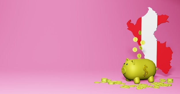 3d rendering of piggy bank as positive economic growth in peru