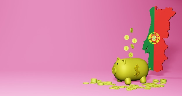 3d rendering of piggy bank as positive economic growth in portugal