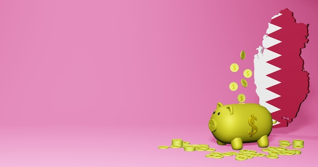3d rendering of piggy bank as positive economic growth in qatar
