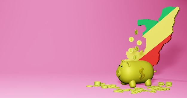3d rendering of piggy bank as positive economic growth in republic of congo