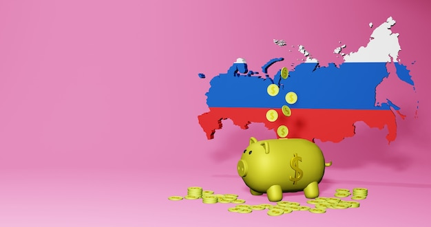 3d rendering of piggy bank as positive economic growth in russia