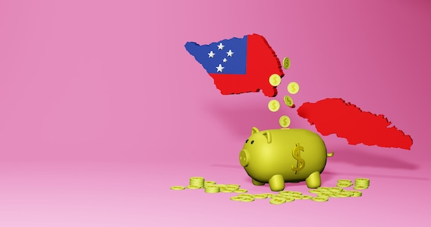 3d rendering of piggy bank as positive economic growth in samoa