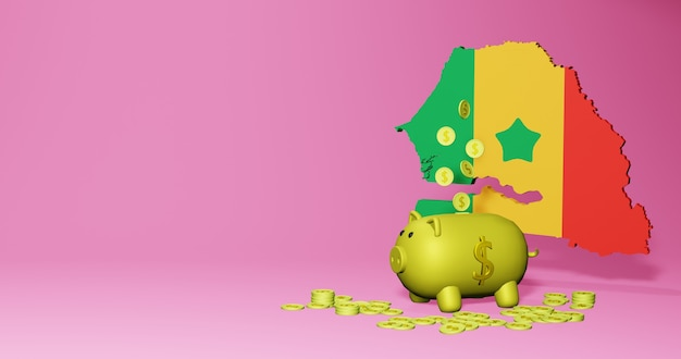 3d rendering of piggy bank as positive economic growth in senegal