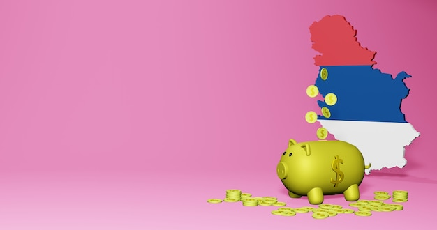 3d rendering of piggy bank as positive economic growth in serbia