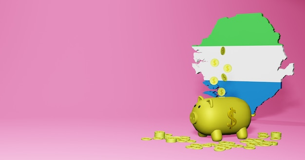 3d rendering of piggy bank as positive economic growth in siera leone