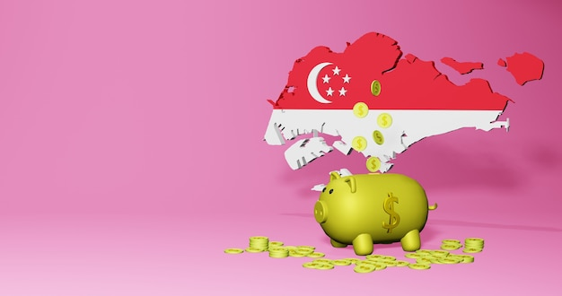 3d rendering of piggy bank as positive economic growth in singapore