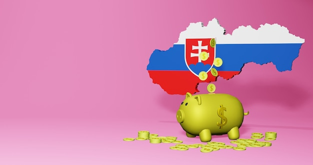 3d rendering of piggy bank as positive economic growth in slovakia